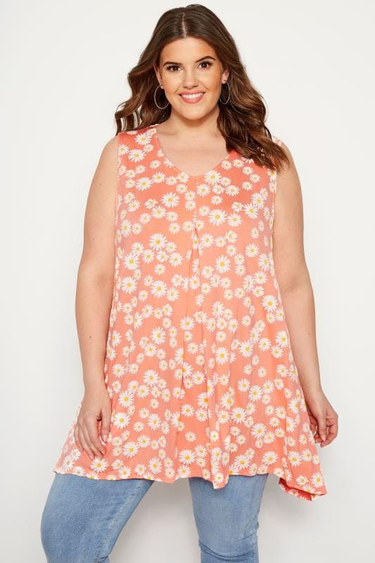 65cac4eff1812f Plus Size Day Tops Orange Daisy Swing Vest Top