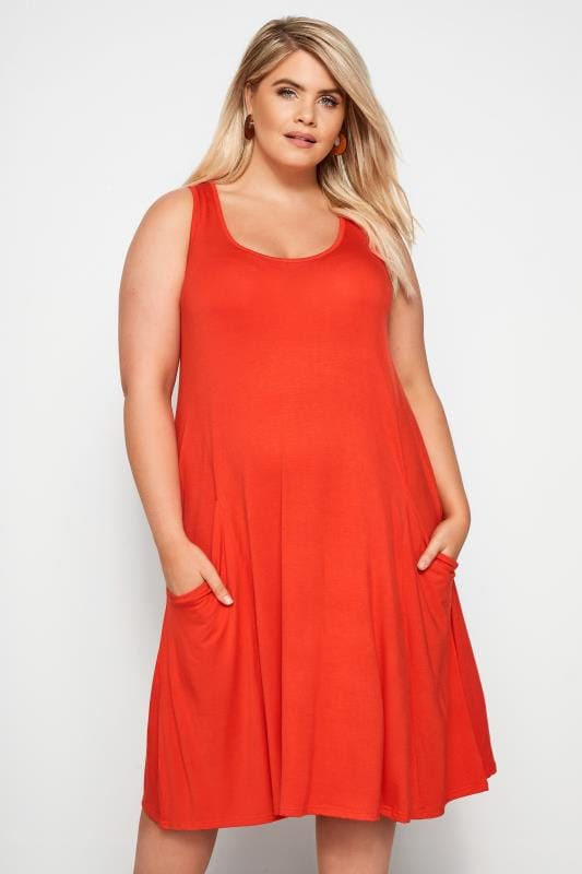 Plus Size Casual Dresses Orange Drape Pocket Dress