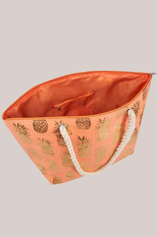 Orange & Gold Pineapple Print Straw Beach Bag With Rope Handles