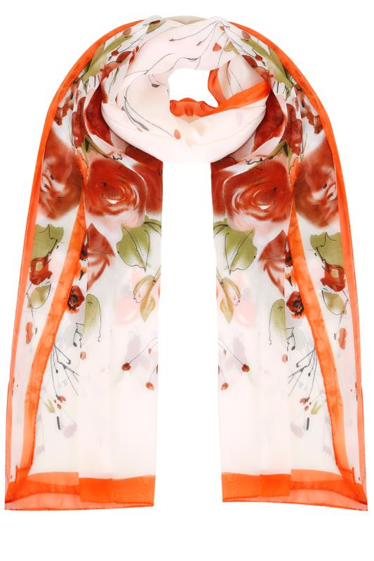 Orange & Ivory Floral Print Woven Sheer Scarf