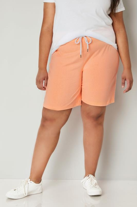 Plus Size Jersey Shorts Orange Jersey Shorts