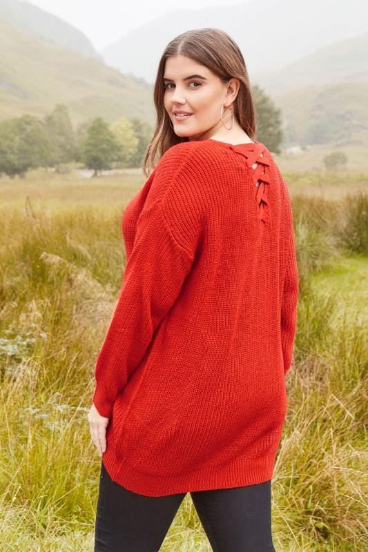 Plus Size Jumpers Orange Knitted Jumper With Cross Over Straps