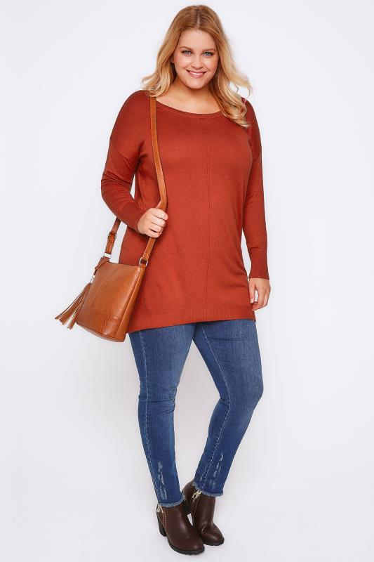 Orange Longline Knitted Jumper With Seam Front Detail