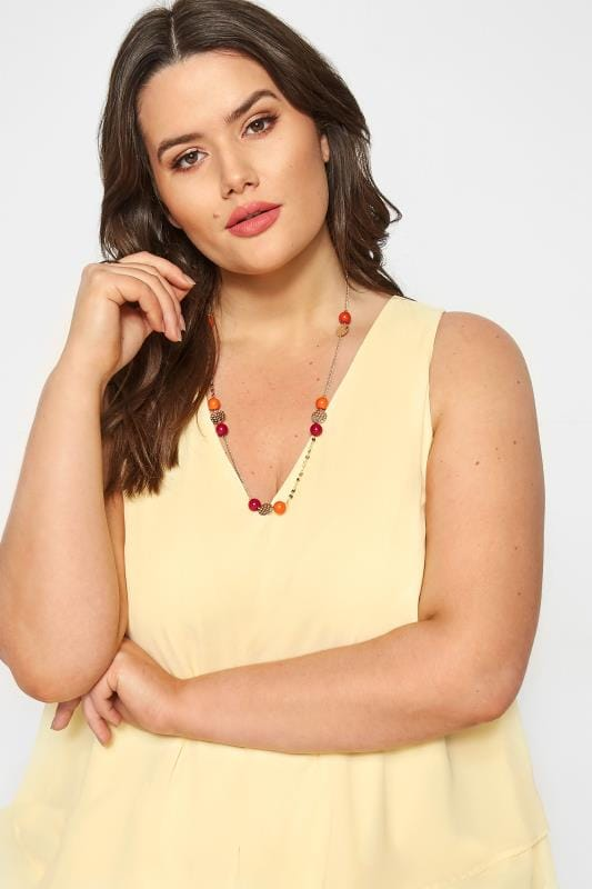 Plus Size Jewellery Orange & Red Beaded Necklace