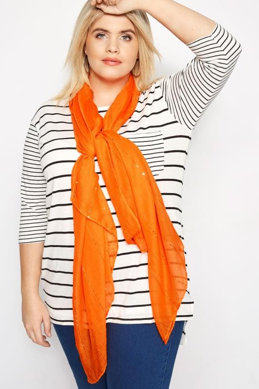 Plus Size Scarves Orange Sparkle Scarf