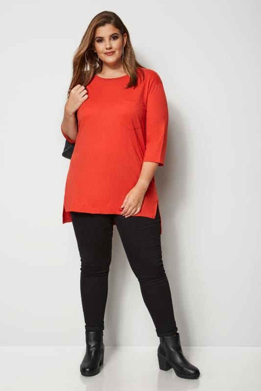 Plus Size Basic T-Shirts & Vests Orange Top With Chest Pocket
