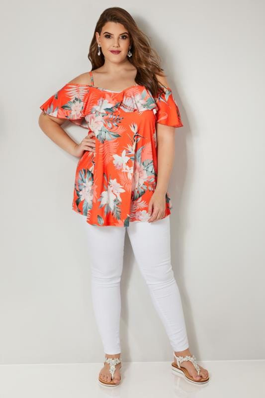Orange Tropical Floral Print Cold Shoulder Top