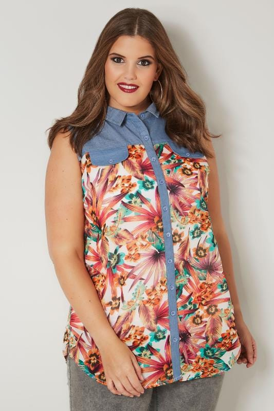 Plus Size Shirts Orange Tropical Print Chambray Shirt