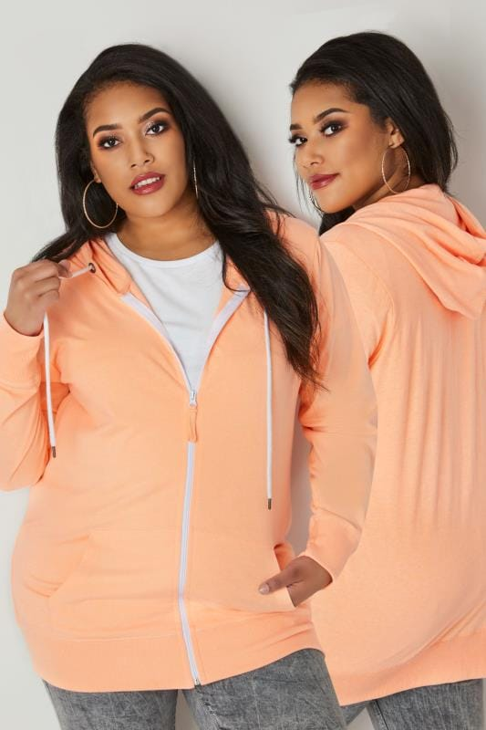 Plus Size Hoodies & Jackets Orange Zip Through Hoodie