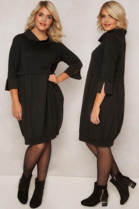 PAPRIKA Black 2-in-1 Sweat Top Cotton Tunic Dress With Paneled Neckline