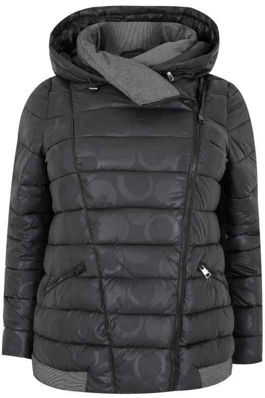 Paprika Black Hooded Puffer Coat With Circle Print Plus