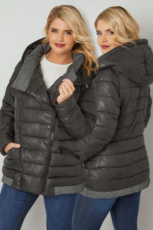 Puffer & Quilted Jackets PAPRIKA Black Hooded Puffer Coat With Circle Print 138864