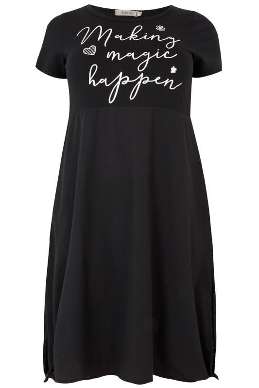 "Tallas Grandes Vestidos midi PAPRIKA Vestido negro con eslogan ""Making Magic Happen"""