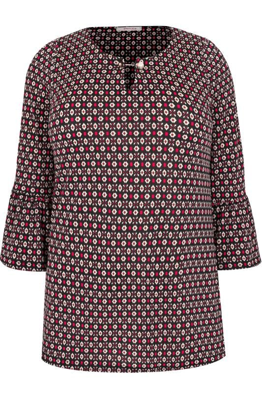 PAPRIKA Black & Multi Patterned Blouse With Flute Sleeves & Pearlescent Fastening