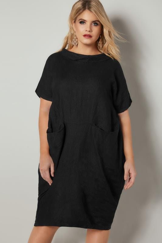 Plus Size Black Dresses PAPRIKA Black Oversized Dress With Front Pockets