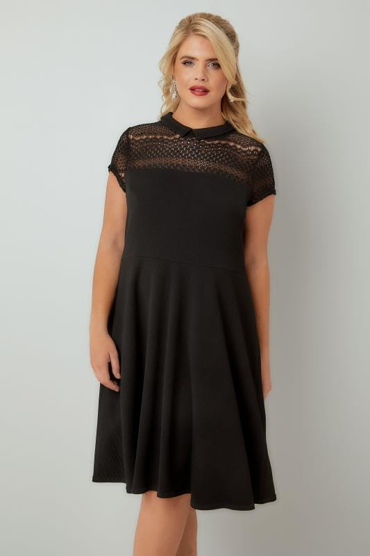 PAPRIKA Black Skater Dress With Mesh Neckline