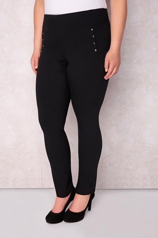 PAPRIKA Black Slim Fit Cotton Mix Treggings With Stud Detail