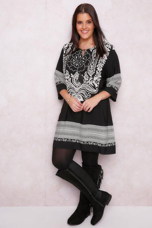 PAPRIKA Black & White Tapestry Printed Tunic Dress With Tassel Detail