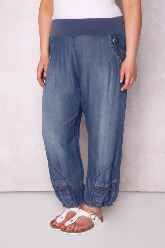 PAPRIKA Blue Denim Tencel® Harem Trousers With Sequin Pockets - Made In Italy