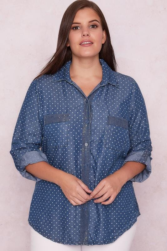 PAPRIKA Blue Denim Polka Dot Shirt With Sequin Embellishment