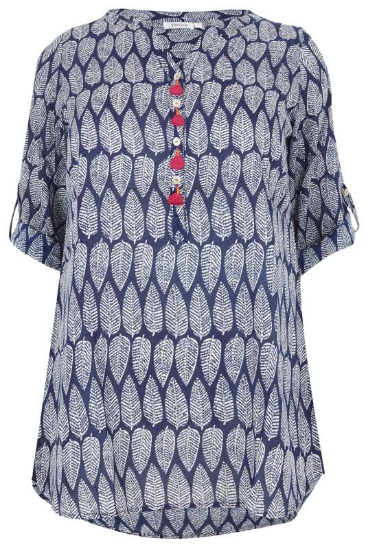 PAPRIKA Blue & White Leaf Print Blouse With Tassel Trim