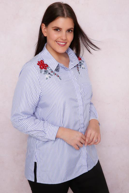 PAPRIKA Blue & White Stripe Shirt With Floral Embroidery