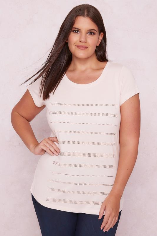 PAPRIKA Blush Pink Top With Gem Embellished Stripes