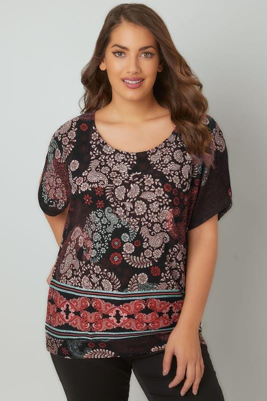 PAPRIKA Top Marron & Multi Motif Fleuri