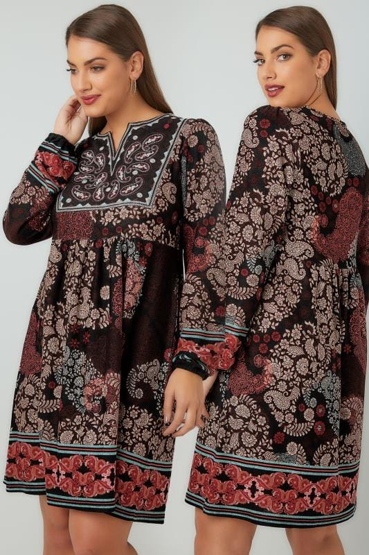 PAPRIKA Brown & Multi Paisley Print V-Neck Tunic Dress