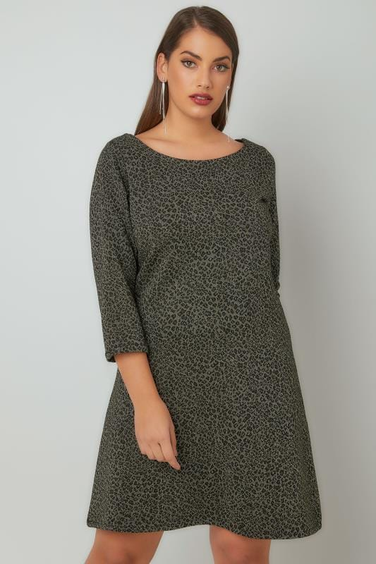 PAPRIKA Dark Green Animal Patterned Woven Tunic Dress