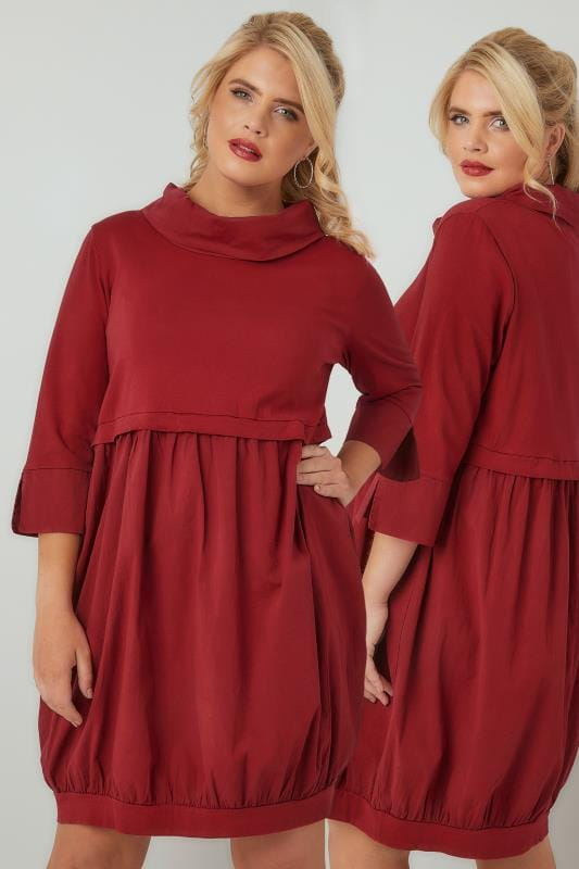 PAPRIKA Deep Red 2-in-1 Sweat Top Cotton Tunic Dress With Paneled Neckline