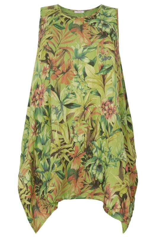 PAPRIKA Green Floral Longline Top With Hanky Hem