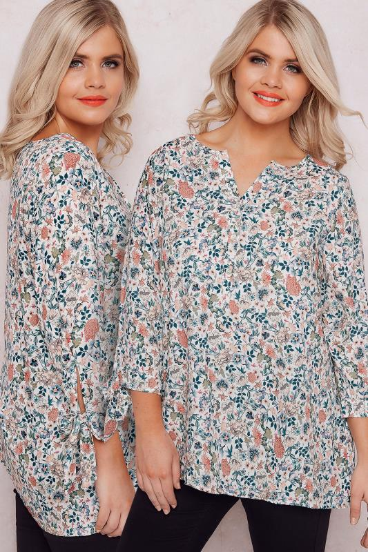 PAPRIKA Green & Multi Floral Print Blouse With V-Neckline & Bow Sleeves