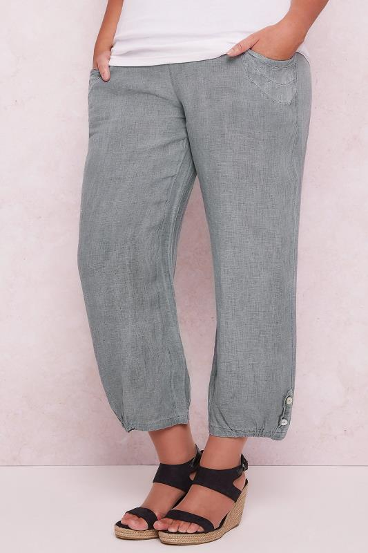 PAPRIKA Grey Linen Loose Fit Pull On Ankle Grazer Trousers