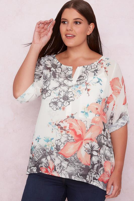 PAPRIKA Ivory & Multi Floral Print Chiffon Blouse With Cami