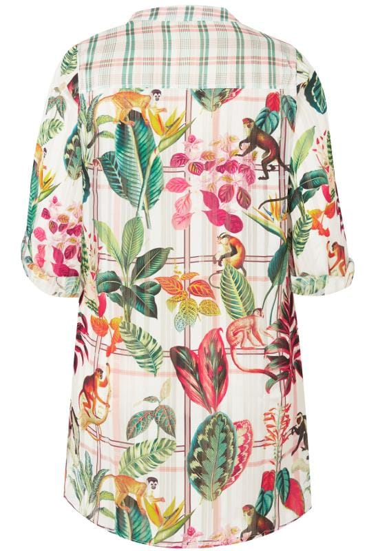 PAPRIKA Ivory & Multi Jungle Print Longline Shirt