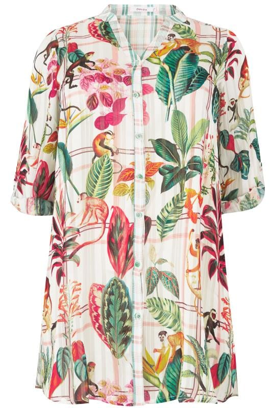 Plus Size Shirts PAPRIKA Ivory & Multi Jungle Print Longline Shirt