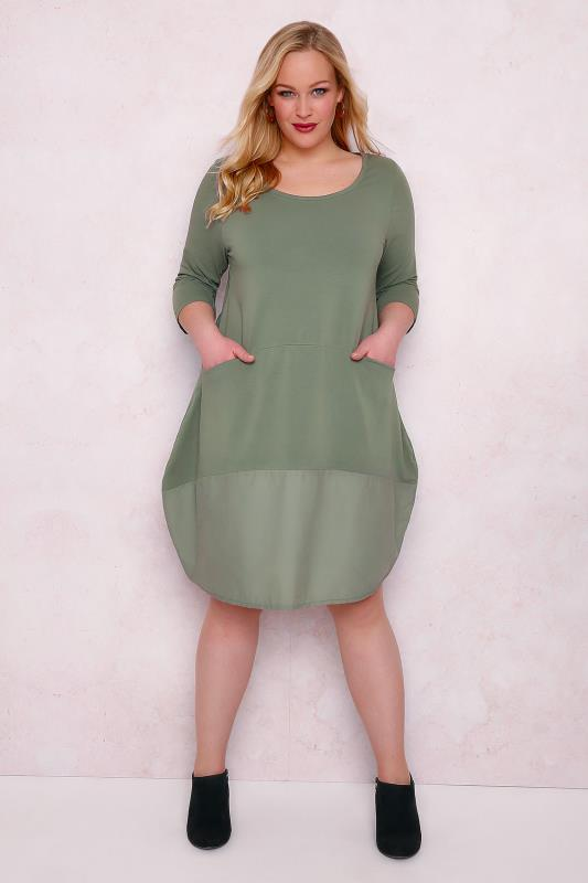 PAPRIKA Khaki Jersey Swing Dress With Pockets & Contrast Panel