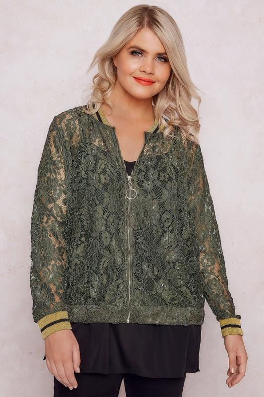 Bombers PAPRIKA Khaki Lace Bomber With Contrasting Trims 138717