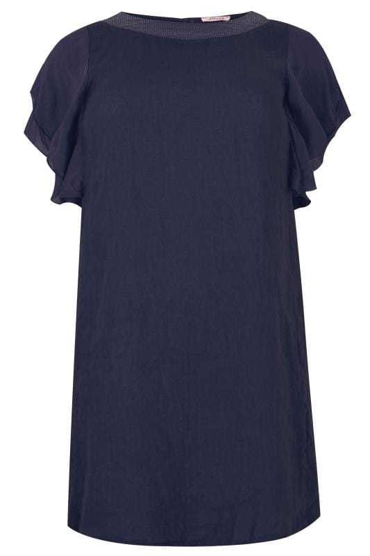 Plus Size Sleeved Dresses PAPRIKA Marine Blue Dress With Tiered Sleeves & Sequin Neckline