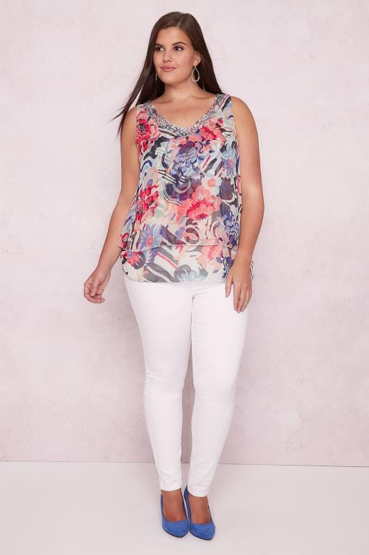 PAPRIKA Multi Floral Layered Top With Sequin Neckline & Cross Back