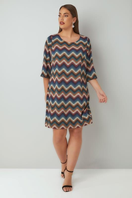 PAPRIKA Multi Zig Zag Print Tunic Dress