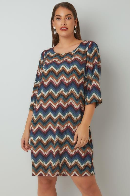 Tunic Dresses PAPRIKA Multi Zig Zag Print Tunic Dress 138836