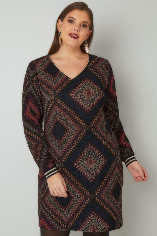 PAPRIKA Multicoloured Woven Diamond Patterned Dress