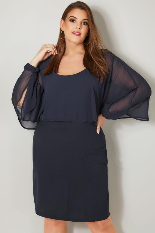 PAPRIKA Navy Chiffon Layered Cape Dress