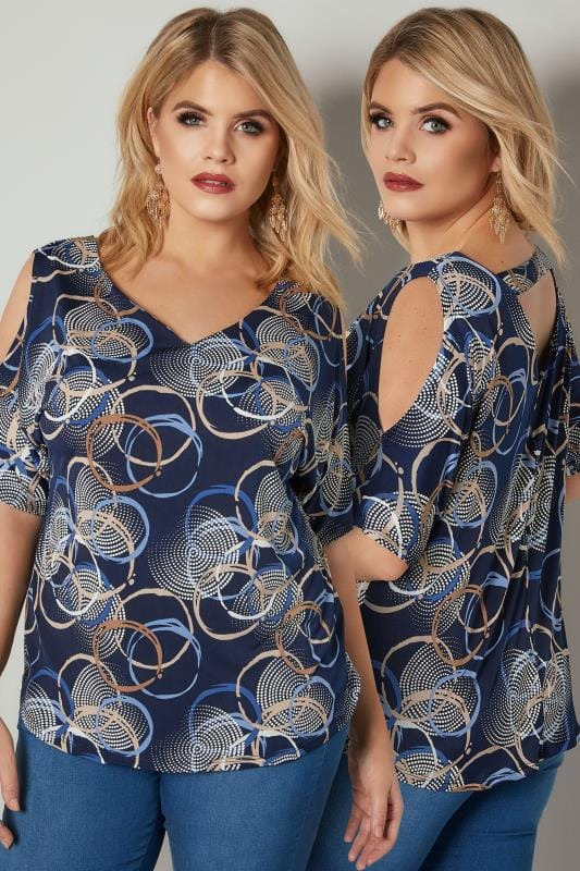 Plus Size Jersey Tops PAPRIKA Navy Circle Print Cold Shoulder Top