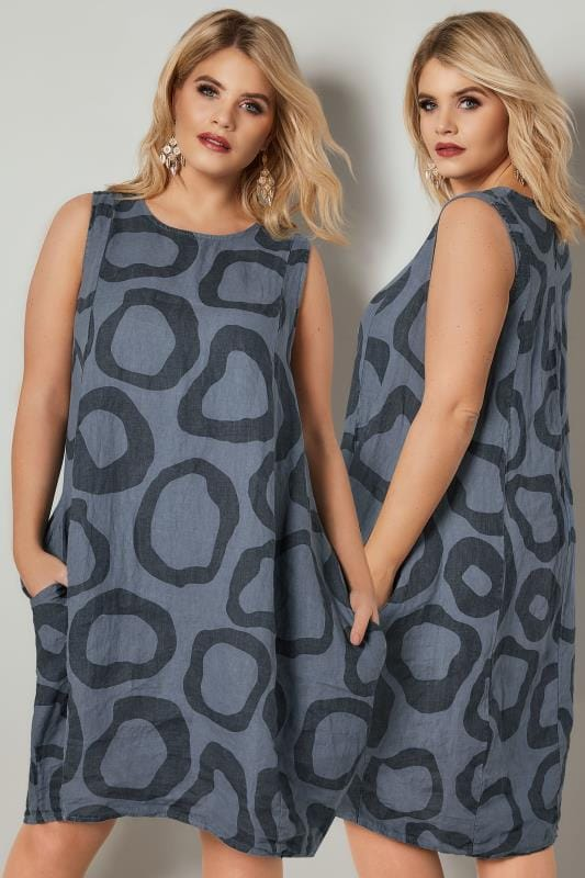 Swing & Shift Dresses PAPRIKA Navy Circle Print Dress With Pockets 138912