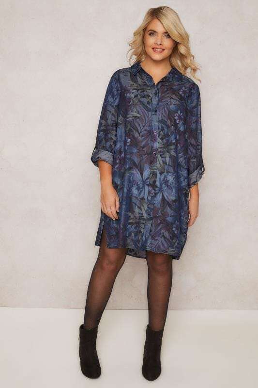 PAPRIKA Navy Floral Longline Shirt With Chest Pocket & Side Splits