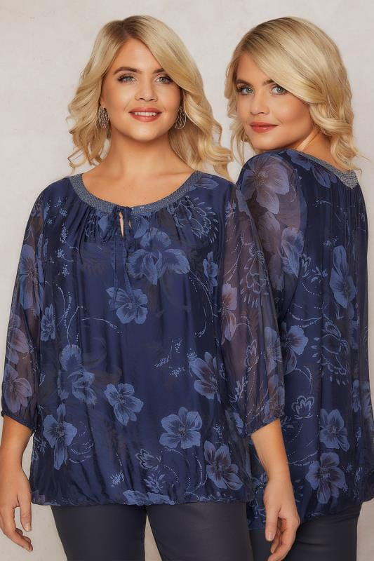 PAPRIKA Navy Floral Tie Front Blouse With Sequin Detail & Bubble Hem