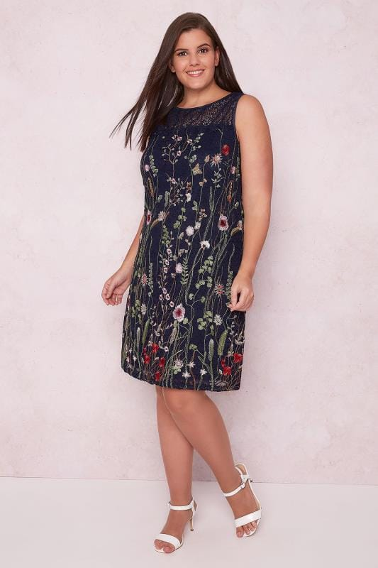 PAPRIKA Navy Lace Overlay Sleeveless Dress With Floral Embroidery